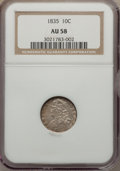 Bust Dimes: , 1835 10C AU58 NGC. NGC Census: (70/251). PCGS Population (55/192).Mintage: 1,410,000. Numismedia Wsl. Price for problem fr...