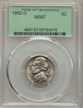 Jefferson Nickels, 1952-D 5C MS67 PCGS. PCGS Population (5/0). NGC Census: (43/0). Mintage: 30,638,000. Numismedia Wsl. Price for problem free...