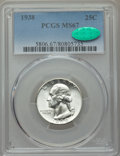 Washington Quarters, 1938 25C MS67 PCGS. CAC. PCGS Population (58/0). NGC Census:(58/1). Mintage: 9,480,045. CDN Wsl. Price for problem free NG...