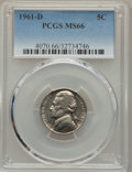 Jefferson Nickels, 1961-D 5C MS66 PCGS. PCGS Population (14/1). NGC Census: (89/1). Mintage: 229,342,752. ...