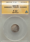 Early Half Dimes: , 1803 H10C Large 8 -- Damaged, Tooled, Cleaned -- ANACS. Fine 12Details. NGC Census: (0/30). PCGS Population (6/85). Mintag...