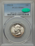 Washington Quarters, 1962-D 25C MS66+ PCGS. CAC. PCGS Population (225/8 and 16/1+). NGCCensus: (246/23 and 2/0+). Mintage: 127,554,752. ...