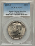 Kennedy Half Dollars, 1983-D 50C MS67 PCGS. Ex: Vennekotter Collection. PCGS Population(32/1). NGC Census: (5/0). Mintage: 32,472,244. Numismedi...
