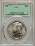 Kennedy Half Dollars, 1984-P 50C MS67 PCGS. PCGS Population (27/0). NGC Census: (32/0).Mintage: 26,029,000. Numismedia Wsl. Price for problem fr...