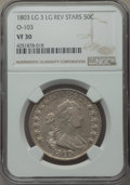 Early Half Dollars, 1803 50C Large 3, Large Reverse Stars, O-103, T-3, R.3, VF30 NGC.NGC Census: (5/41). PCGS Population (6/10). ...