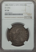 Early Half Dollars, 1806 50C Pointed 6, Stem, O-120a, T-28, R.4, VF30 NGC. NGC Census:(1/10). PCGS Population (0/7). ...