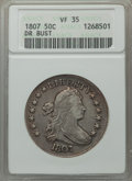 Early Half Dollars: , 1807 50C Draped Bust VF35 ANACS. NGC Census: (50/410). PCGSPopulation (115/547). Mintage: 301,076. ...