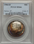 Kennedy Half Dollars, 1964-D 50C MS66 PCGS. PCGS Population (670/47). NGC Census:(343/11). Mintage: 156,205,440. Numismedia Wsl. Price for probl...