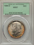Kennedy Half Dollars, 1964-D 50C MS67 PCGS. PCGS Population (46/1). NGC Census: (11/0).Mintage: 156,205,440. Numismedia Wsl. Price for problem f...