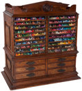 Furniture , An American Oak and Burlwood Elm Glazed Embroidery Floss Display, circa 1880. 35 h x 32-1/2 w x 21-1/2 d inches (88.9 x 82.6...
