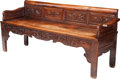 Asian:Chinese, A Japanese Carved Rosewood Bench with Fruit Motif, late 19th-early20th century. 32 h x 70-3/4 w x 22 d inches (81.3 x 179.7...