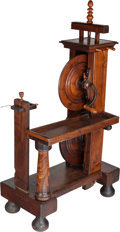 Furniture : American, A Walnut and Wrought Iron Silk Spinning Wheel, 19th century. 62-1/2h x 38 w x 18 d inches (158.8 x 96.5 x 45.7 cm). ...
