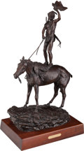 Fine Art - Sculpture, American:Contemporary (1950 to present), Jim Reno (American, 1929-2008). Comanche Scout, 1991. Bronzewith brown patina. 28 inches (71.1 cm) high on a 3 inches (...