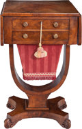 Furniture , An English Regency Mahogany Two-Drawer Sewing Table, circa 1820.28-1/4 inches high x 29-1/4 inches wide (71.8 x 74.3 cm) (l...