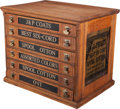 Furniture : American, A J&P Coats Four-Drawer Oak Counter Display Spool Cabinet, late19th century. 20-1/4 h x 24-1/2 w x 17-1/4 d inches (51.4 x ...