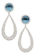 Estate Jewelry:Earrings, Topaz, Diamond, White Gold Earrings, Eli Frei. ... (Total: 2 Items)