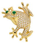 Estate Jewelry:Brooches - Pins, Diamond, Emerald, Gold Pendant-Brooch. ...
