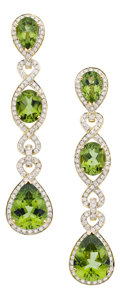 Estate Jewelry:Earrings, Peridot, Diamond, Gold Earrings, Eli Frei. ... (Total: 2 Items)