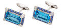 Estate Jewelry:Cufflinks, Topaz, Sapphire, Diamond, White Gold Cuff Links, Eli Frei. ... (Total: 2 Items)