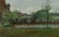 Fine Art - Painting, American:Antique  (Pre 1900), John Henry Twachtman (American, 1853-1902). Landscape withCottages, circa 1883. Oil on panel. 12-3/4 x 19-3/4 inches(3... (Total: 2 Items)
