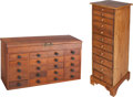 Furniture , Two American Pine and Walnut Display Cabinets, late 19th century. 35-1/2 h x 12-1/4 w x 15-1/2 d inches (90.2 x 31.1 x 39.4 ... (Total: 2 Items)