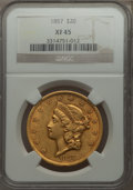 Liberty Double Eagles, 1857 $20 XF45 NGC....