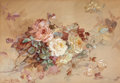 Works on Paper, Franz A. Bischoff (Austrian/American, 1864-1929). Pink and Yellow Roses. Watercolor on paper laid on board. 19-3/4 x 28 ...