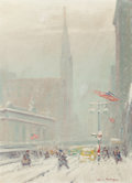 Fine Art - Painting, American:Modern  (1900 1949)  , Johann Berthelsen (1883-1972). Grand Central Station, 42ndstreet. Oil on canvasboard. 16-1/4 x 12-1/4 inches (41.3 x31...
