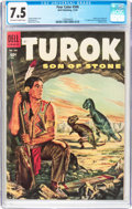 Golden Age (1938-1955):Miscellaneous, Four Color #596 Turok (Dell, 1954) CGC VF- 7.5 Off-white to white pages....