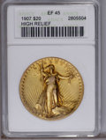 High Relief Double Eagles: , 1907 $20 High Relief, Wire Rim XF45 ANACS. NGC Census: (6/1964). PCGS Population (32/3610).Mintage: 11,250. Numismedia Wsl....