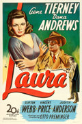 "Movie Posters:Film Noir, Laura (20th Century Fox, 1944). One Sheet (27"" X 41""). From thecollection of William E. Rea.. ..."