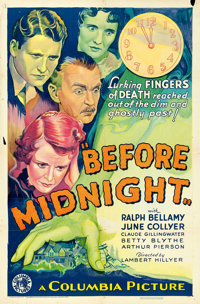 "Before Midnight (Columbia, 1933). One Sheet (27"" X 41""). From the collection of William E. Rea"