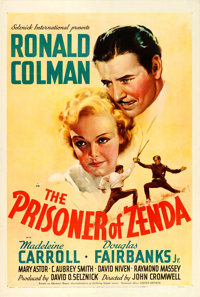 """The Prisoner of Zenda (United Artists, 1937). One Sheet (27.5"""" X 41""""). From the collection of William E. Rea..."""