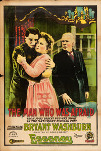 """The Man Who Was Afraid (Essanay, 1917). One Sheet (28"""" X 42"""")"""