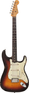 Musical Instruments:Electric Guitars, 1961 Fender Stratocaster Sunburst Solid Body Electric Guitar, Serial # 55940, Weight: 7.5 lbs....