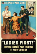 "Movie Posters:Comedy, Ladies First (Paramount, 1918). One Sheet (28"" X 41"").. ..."