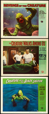 """Creature from the Black Lagoon and Other Lot (Universal International, 1954). Lobby Cards (3) (11"""" X 14"""")..."""