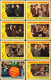 """Captain America (Republic, 1944). Lobby Card Set of 8 (11"""" X 14"""") Chapter 1 -- """"The Purple Death."""" S..."""