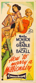 """Movie Posters:Comedy, How to Marry a Millionaire (20th Century Fox, 1953). AustralianPost-War Daybill (13"""" X 30"""").. ..."""