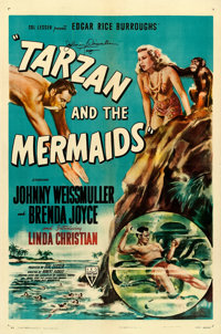 """Tarzan and the Mermaids (RKO, 1948). Johnny Weissmuller Autographed One Sheet (27"""" X 41"""")"""