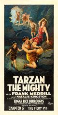 "Movie Posters:Serial, Tarzan the Mighty (Universal, 1928). Three Sheet (41"" X 79.5"").Chapter 6 -- ""The Fiery Pit."". ..."