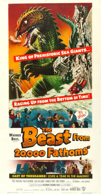 "The Beast from 20,000 Fathoms (Warner Brothers, 1953). Three Sheet (41"" X 79"")"
