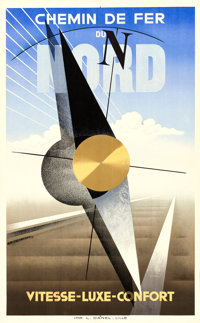 """French Northern Railway (c.1929). Travel Poster (24.5"""" X 39"""") A.M. Cassandre Artwork"""