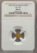 California Fractional Gold , 1874 25C Indian Octagonal 25 Cents, BG-795, R.3, MS65 NGC. NGCCensus: (4/1). PCGS Population (21/3). ...