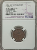 Civil War Merchants, (1861-1865) New York Store, Waterbury, CT -- Obverse Scratched --NGC Details, Unc., Fuld-CT560A-1a, R.4; 1863 B. Holcomb Groc...(Total: 9 tokens)
