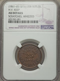 Civil War Tokens, (1861-1865) H.V. Keep Sutler Token -- Scratches, Whizzed -- NGC Details. AU. S&I-UI-J-25B, R.7....