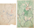 Military & Patriotic:Civil War, Battle of Chancellorsville: Hand-Drawn Maps and Book.... (Total: 3 Items)