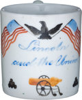 Political:3D & Other Display (pre-1896), Abraham Lincoln: Circa 1861 Child's Soft Paste Mug....