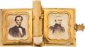Political:Ferrotypes / Photo Badges (pre-1896), Abraham Lincoln: Flashy Photo Locket....