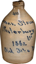 """Political:3D & Other Display (pre-1896), Abraham Lincoln: Dated """"Old Abe"""" Stoneware Jug From Vermont...."""
